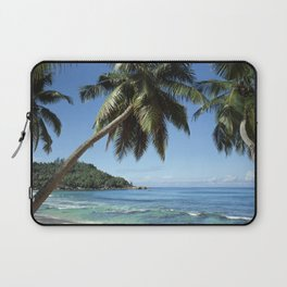 Palm-lined tropical beach in the Seychelles Laptop Sleeve