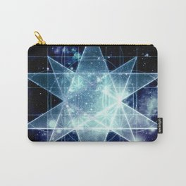 Galaxy Sacred Geometry : Stellated Icoshadron Blue Carry-All Pouch