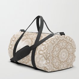 Butterfly on mandala in iced coffee tones Duffle Bag