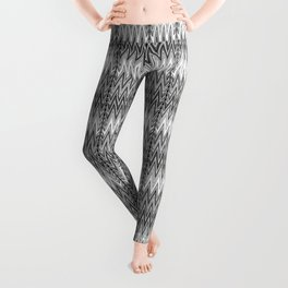 Flame Stitch Pattern, Gray, Black and White Leggings
