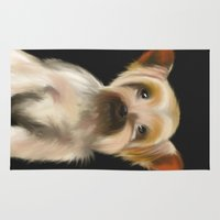yorkie Area & Throw Rugs featuring Yorkie on Black by barefoot art online