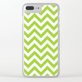 Chevron pattern / yellow green Clear iPhone Case