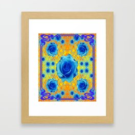 Art Nouveau Blue-golden Roses Abstract Design. Framed Art Print