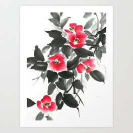 Camellia sumie ink and watercolor painting Art Print