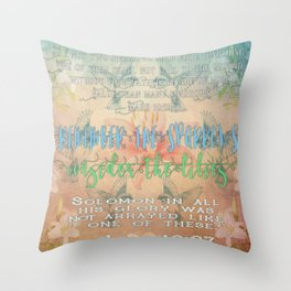 Sparrows & Lilies Throw Pillow