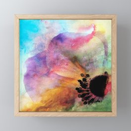 Abstract anemone one colorful watercolor Framed Mini Art Print