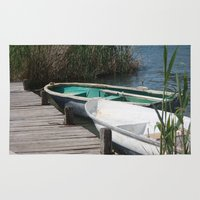 rowing Area & Throw Rugs featuring Reeds, Rowing Boats and Old Jetty at Dalyan by taiche