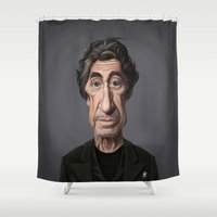 scarface Shower Curtains featuring Celebrity Sunday ~ Al Pacino by rob art | illustration