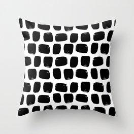 Black & White Modern Preppy Hand-Drawn Brushstroke Polka Dot Squares Throw Pillow