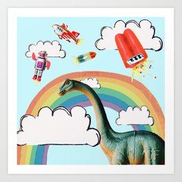 """busy skies"", thought the dinosaur Art Print"