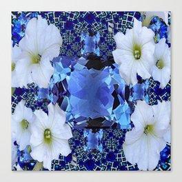 LONDON BLUE TOPAZ & WHITE PETUNIAS PATTERN Canvas Print