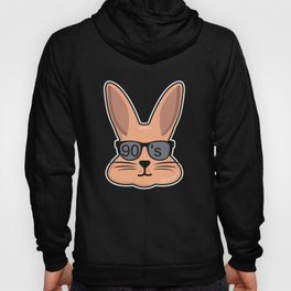 90s Party Theme Funny Animal Hare Rabbit Hoody