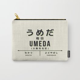 Vintage Japan Train Station Sign - Umeda Osaka Cream Carry-All Pouch