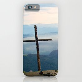 Rustic Mountaintop Cross at Sunrise iPhone Case