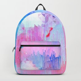 Abstract Candy Glitch - Pink, Blue and Ultra violet #abstractart #glitch Backpack