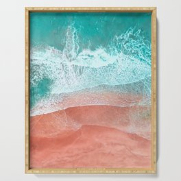 The Break - Turquoise Sea Pastel Pink Beach II Serving Tray