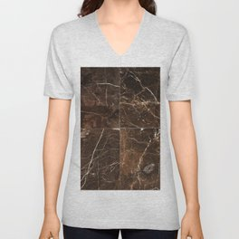 Brown Granite Squares Unisex V-Neck