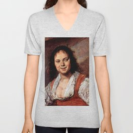 """Frans Hals """"Young woman (The Gypsy Girl)"""" Unisex V-Neck"""