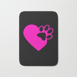 Cute Heart Paw Print product Funny Love Gift For Cat Owners Bath Mat