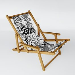 Lots of Bodies Doodle in Black and White Sling Chair