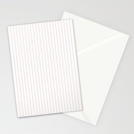 Small Alice Pink and White Mattress Ticking Stripes Stationery Cards