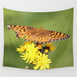 Butterfly on flower Wall Tapestry