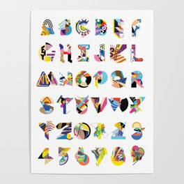 AMP Noise collage alphabet (white poster) Poster