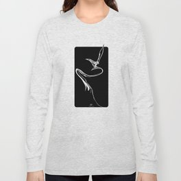 Swallow 1.White on black background. Long Sleeve T-shirt
