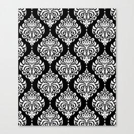 Black Monochrome Damask Pattern Canvas Print