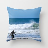 surfer Throw Pillows featuring Surfer by JohnJohn22