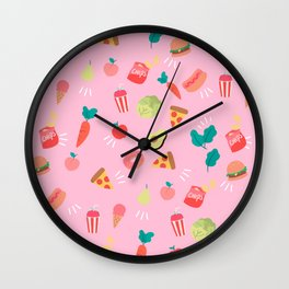 healthy foods and Junk Foods Wall Clock