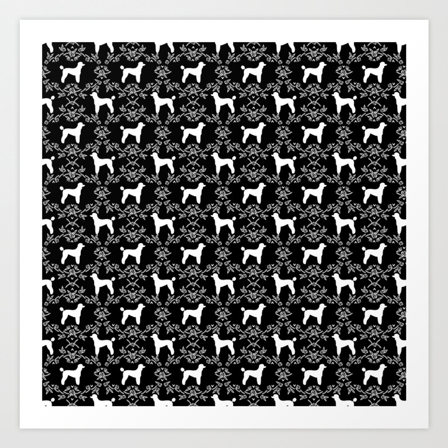 Poodle Silhouette Floral Pattern Minimal Dog Patterns For Poodles