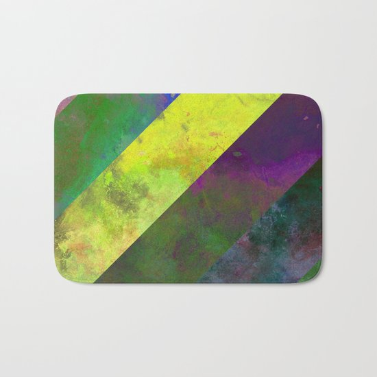 45 Degrees - Abstract, textured, diagonal stripes Bath Mat