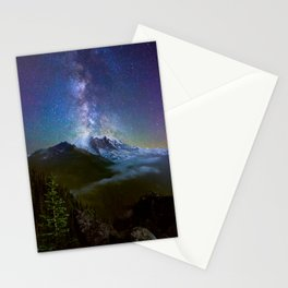 Milky Way Over Mount Rainier Stationery Cards