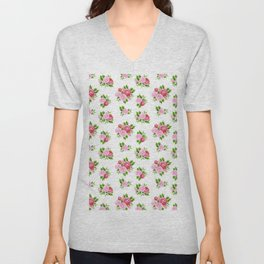 Blush pink red green watercolor floral camellia pattern Unisex V-Neck