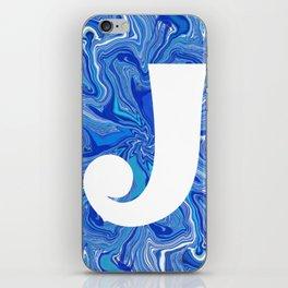 J wih blue swirls iPhone Skin