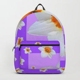 ULTRA VIOLET  WHITE DAFFODILS GARDEN ART Backpack