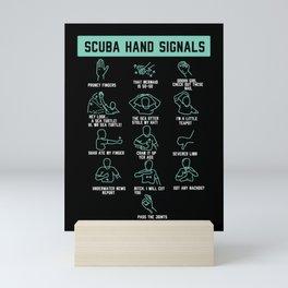 Sarcastic Scuba Diver Hand Signals Diving Gag Mini Art Print