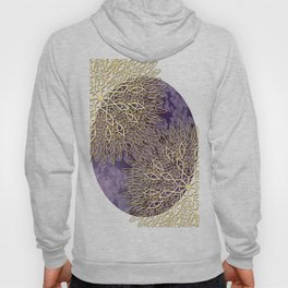 Gold Mandalas on Violet Background Hoody