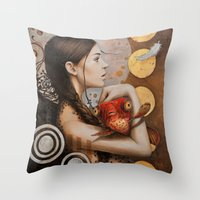 moulin rouge Throw Pillows featuring Rouge by Sophie Wilkins