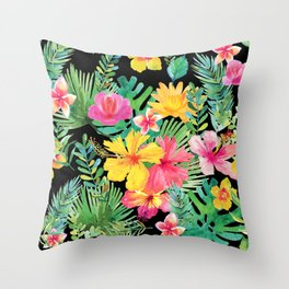 Tropical Floral Pattern Hawaii Throw Pillow