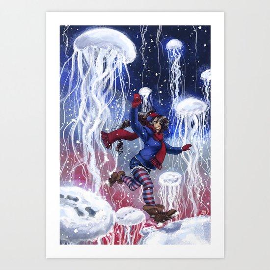 Snow Jellies Art Print