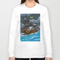 pirate ship Long Sleeve T-shirts featuring Pirate Ship in Stormy Ocean by Nick's Emporium Gallery