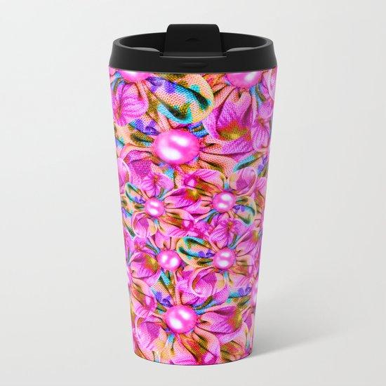 Abstract sewn pink flowers Metal Travel Mug