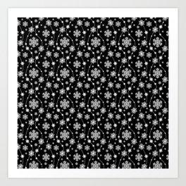 Festive Black and White Snowflake Pattern Art Print