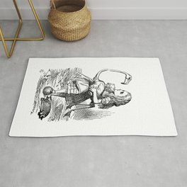 Vintage Alice in Wonderland flamingo croquet antique book drawing emo goth illustration art print  Rug