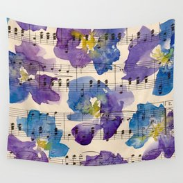 Pansy Purple Watercolor Wall Tapestry
