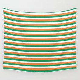 Irish Tricolour Horizontal Stripes Green Orange and White Irish Flag Wall Tapestry