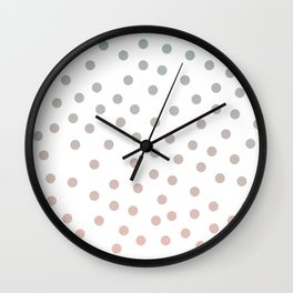 Simply Dots in Coral Peach Sea Green Gradient on White Wall Clock