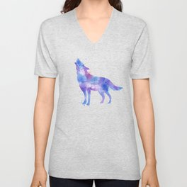 Watercolor Wolf Unisex V-Neck